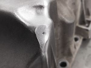 Aluminum oil pan repair welding